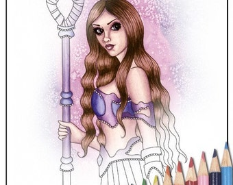 Digital Stamp - Printable Coloring Page - Fantasy Art - Fantasy Stamp - Astrina - by Nikki Burnette - PERSONAL USE