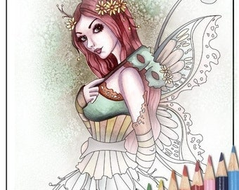 Digital Stamp - Printable Coloring Page - Fantasy Art - Fairy Stamp - Arden - by Nikki Burnette - PERSONAL USE