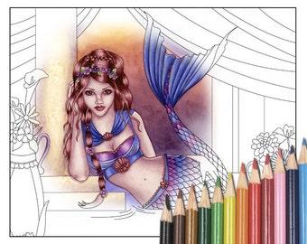 Digital Stamp - Printable Coloring Page - Fantasy Art - Mermaid Stamp - Giselle Version 2 - by Nikki Burnette - PERSONAL USE
