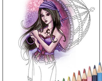Digital Stamp - Printable Coloring Page - Fantasy Art - Witch Stamp - Stella Version 2 - by Nikki Burnette - PERSONAL USE ONLY