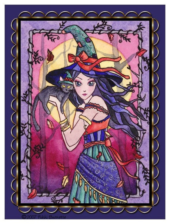 Gypsy Witch Magnet - Fantasy Art - Halloween Wiccan Cat Fairy - Alessa - by Nikki Burnette