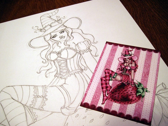 Strawberry Witch - Original Fantasy Illustration Sketch and ACEO Print - Sydney - by Nikki Burnette