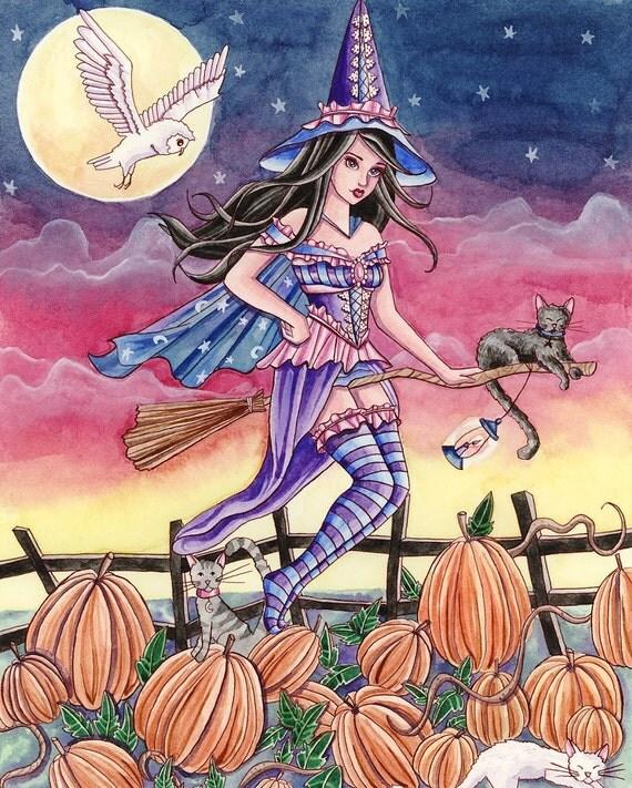 Halloween Art Print - Tabitha - 8 x 10 Fantasy Art Print - by Nikki Burnette