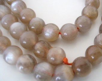 6mm Smooth Brown Moonstone Beads - Full Strand