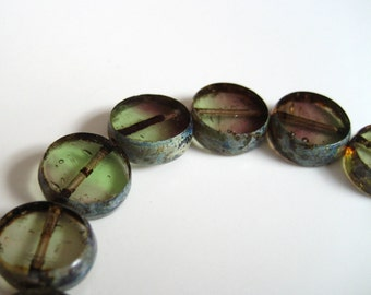 10mm Round Glass Cathedral Beads - Greens, Purples