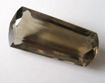 Smoky Quartz - Radiant-Cut Trapezoid Gem, 21.15 cts - 10x26 (SQ107)
