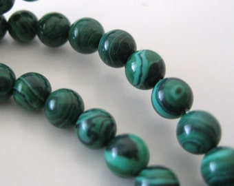 3mm - 4mm Smooth, Round Malachite Beads