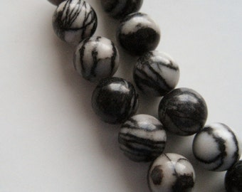 6mm Black Silk Stone - Full Strand