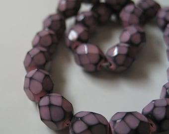 6mm Faceted Purple Czech Glass Beads