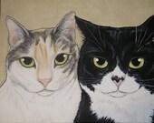 Multiple Pet Portait Painting 11x14 - Custom Painted