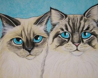 Multiple Pet Portrait Painting 11x14 - Custom Painted, cat, dog, Persian, pet memorial, gift