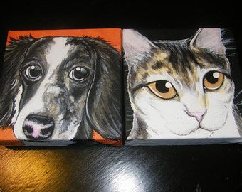 Two Custom Pet Portrait Paintings 6x6 - hand painted, cat, dog, pet love, gift, pet memorial, animal