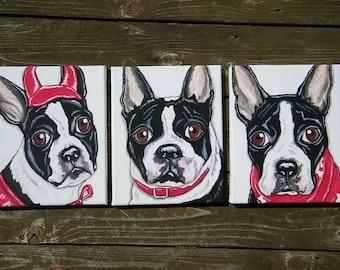 Three (3) Custom Pet Portrait Paintings 8x10, hand painted pet memorial, best friend, dog, cat