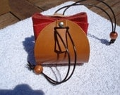 Tan and Red Leather Drawstring Pouch Purse.