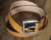Tan Leather Jeans Belt with heavy buckle