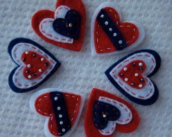 Red White and Blue Felt Hearts Now In Two Sizes