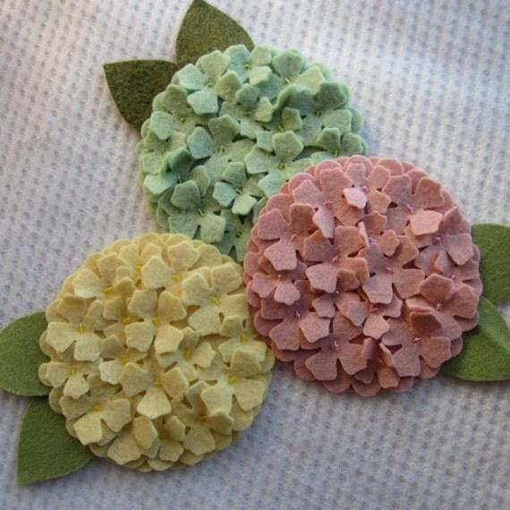 Three Inch Wool Felt Spring Hydrangeas