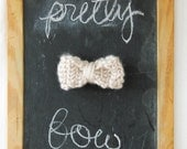 small knit bow- soft grey