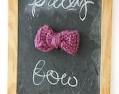 small knit bow- purple