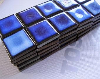 50 Mini Ceramic Mosaic Tiles / Scrabble Tiles for Magnets etc / Dark Blue High Gloss