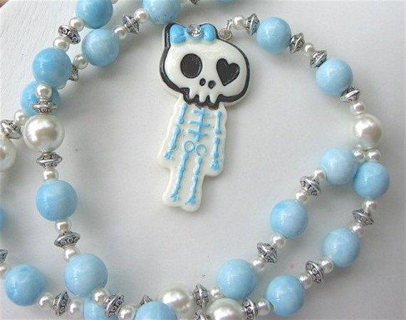 sYnFuL Rosary - Girly Pearls Skeleton Rosary