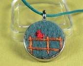 Embroidered Pendant - Cardinal on Fence