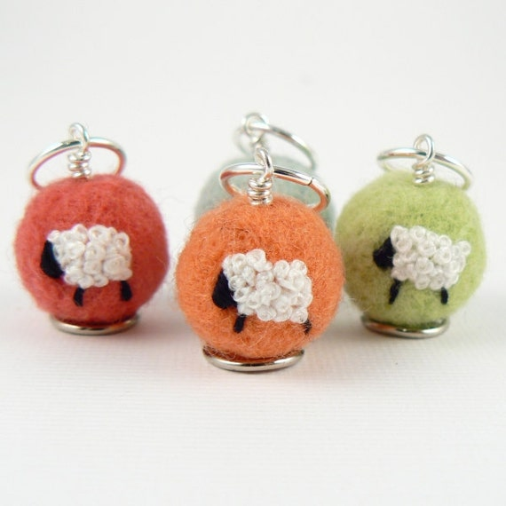 Felted Stitch Markers - Sheep (sorbet)