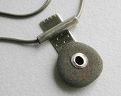 Beach Stone Pendant Sterling Silver Modern - Amulet