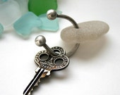 Reserved for Amanda - Beach Glass Key Ring Sterling Silver Seaglass - Frost in August