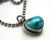 Turquoise Necklace Silver Bezel Ball Chain -  Blue Moon