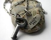 Heart Vintage Key Necklace Love Engaged Taken  -  Spoken For