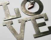 Copper Heart Charm Necklace Sterling Ball Chain Chunky Copper - LOVE U