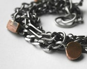 Sterling Silver Charm Bracelet Multiple Chains Copper Tags  - A New Day