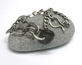 Silver Beach Stone Bracelet Sterling Mixed Chains Asymmetrical  -  Comme Ci Comme Ca