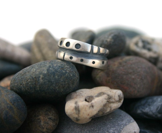 Sterling Silver Funky Tribal Scuptural Modern Oxidized Satin Finish Womens Ring   Size 6 1/2