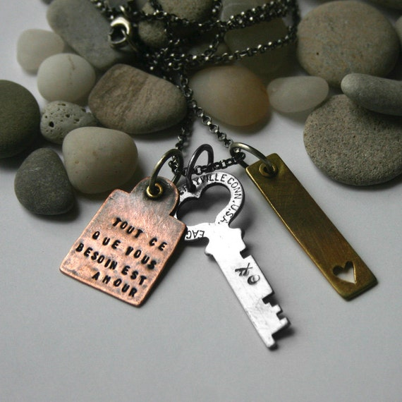 French Charm Necklace Heart Key Tags Mixed Metal - All You Need is Love