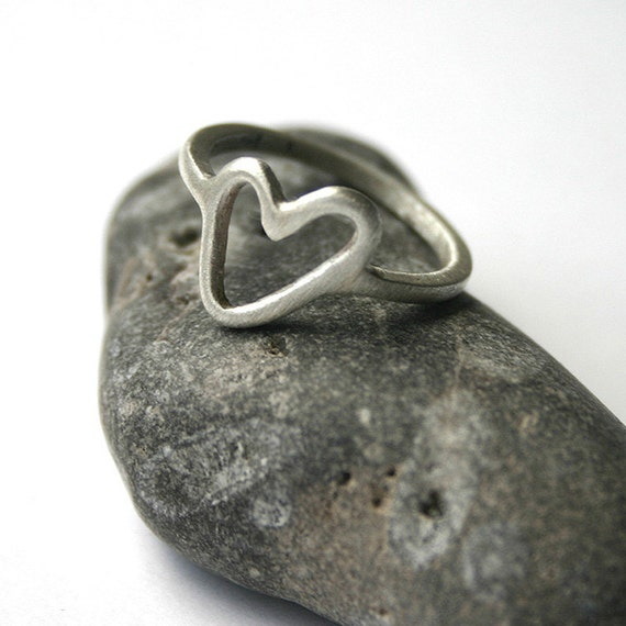 Sterling Silver Open Heart Ring Size 6
