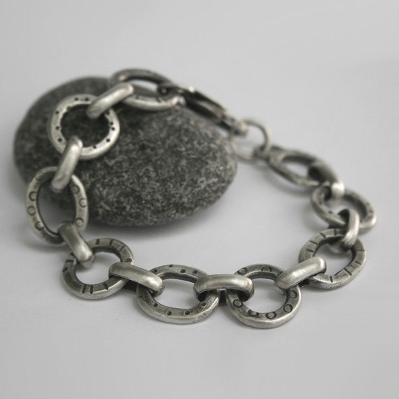 Sterling Silver Bracelet Tribal Pattern Modern Link Heavy Recycled Silver - Going Around Again