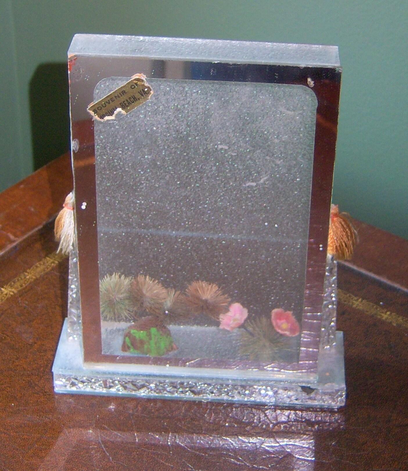 Vintage Glass Plexiglass Art Deco Shadow Box Picture Frame