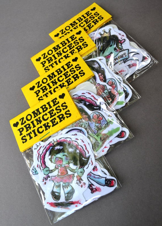 Zombie Princess Stickers Set of 6