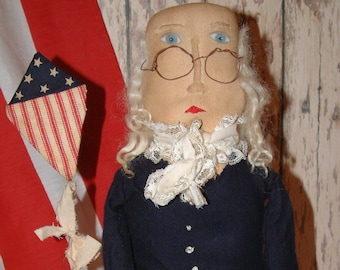"Primitive Folk Art Americana Benjamin Franklin Doll ""E"" Pattern"