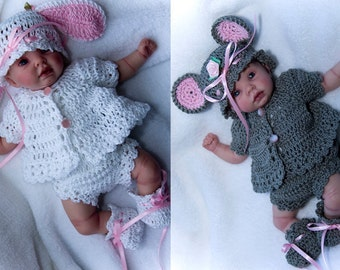 "CB18-Little Bunny & Mouse Layette for 9""-10"" Dolls Pattern PDF"
