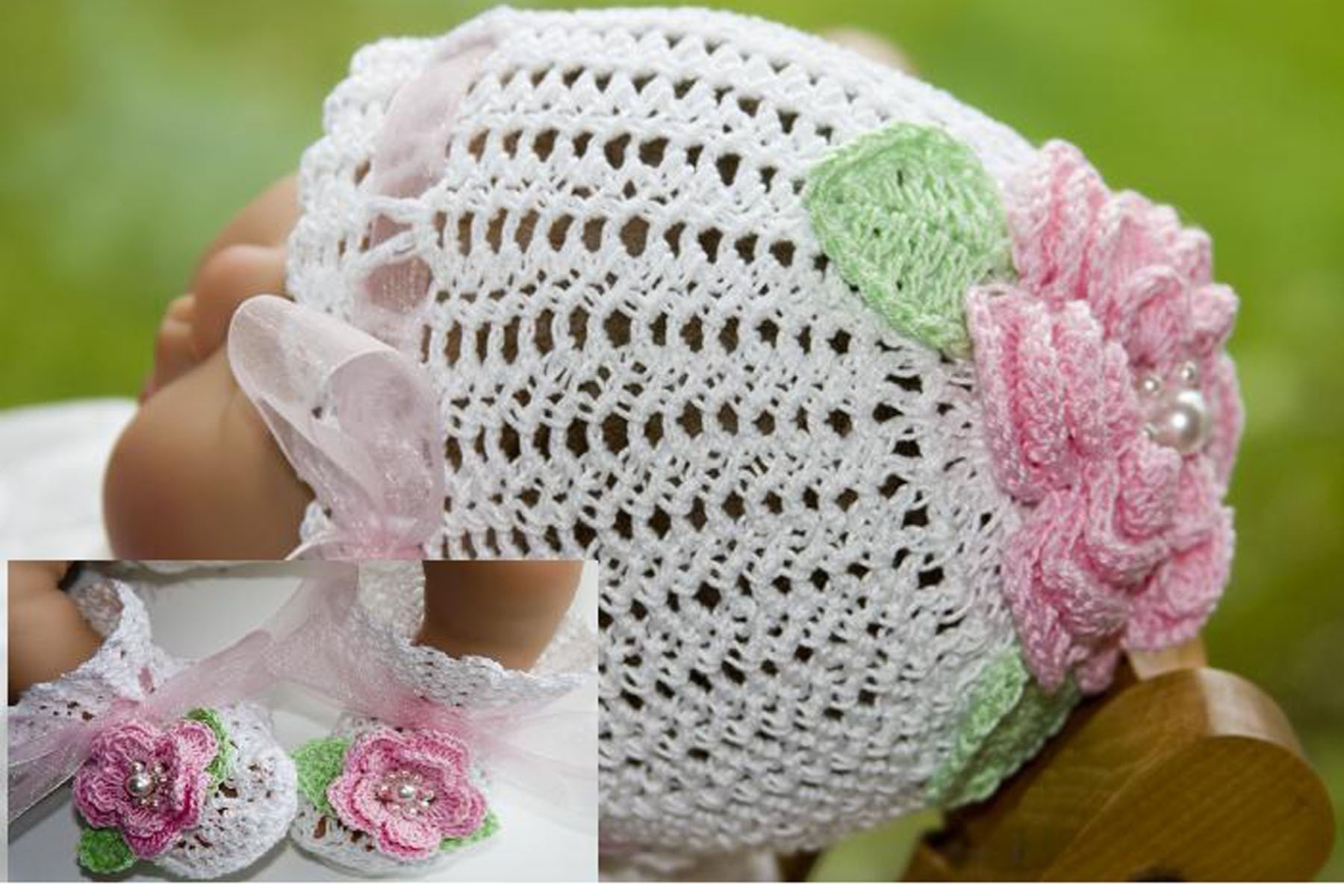Crochet Baby Bonnet And Booties Pattern : Cheryls Crochet CC36 Victorian Rose Baby Bootie and Bonnet