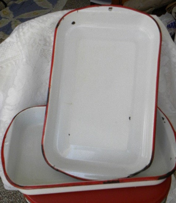 2 Vintage Red and White Enamelware Cake Pans