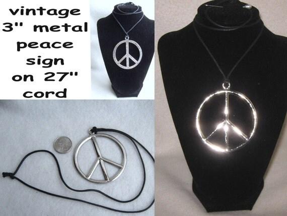 Silver hippie flower child peace sign pendant black cord necklace