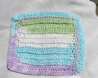 Set of two dishcloths in lavender, white, light turquoise, and spring green.