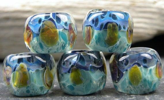 CrazyCatGlass Lampwork Boro Beads Ocean Lure Tabs (5)