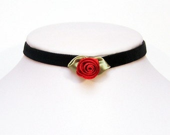 Gothic Velvet choker with a silk Red rose - AMELIA Victorian goth elegant necklace