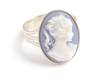 Victorian gothic ring, Cameo ring, Portrait of a lady Adjustable Steampunk goth