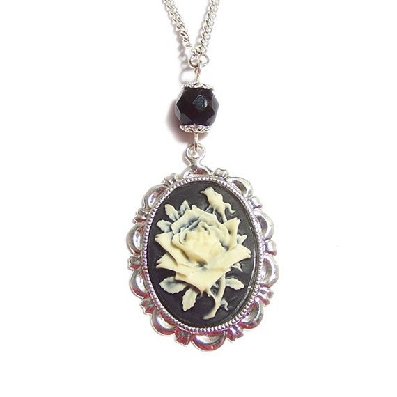 Gothic necklace The black rose cameo necklace Victorian goth